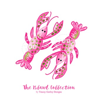Preppy Pink Lobster clip art - Tracey Gurley Designs