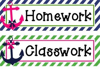 Preppy & Pink Nautical Classroom Decor