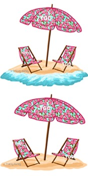 Preppy Pink Rose Beach Set - With and Without Water Printa