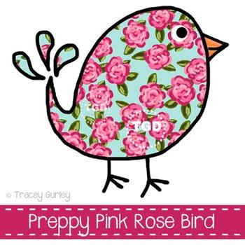 Preppy Pink Rose Bird Printable Tracey Gurley Designs