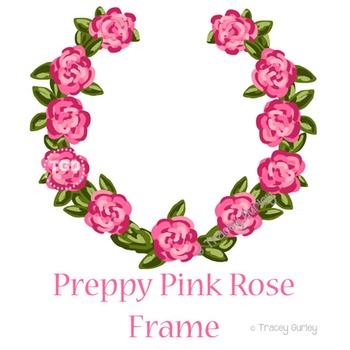Preppy Pink Rose Frame - pink rose art Printable Tracey Gurley Designs