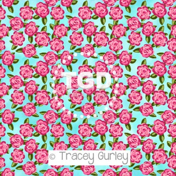 Preppy Pink Roses on turquoise background digital paper Printable Tracey Gurley