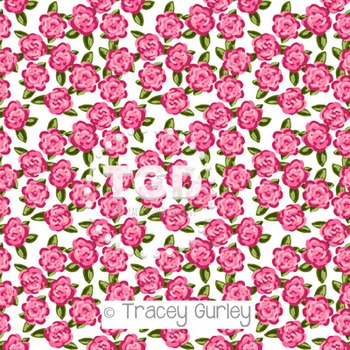 Preppy Pink Roses on white digital paper Printable Tracey Gurley Designs