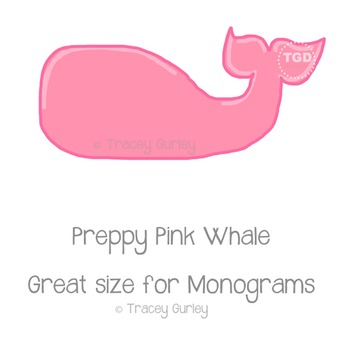 Preppy Pink Whale - Pink whale clip art Printable Tracey Gurley Designs