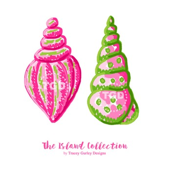 Preppy Pink and Green Seashells Clip Art - Tracey Gurley Designs