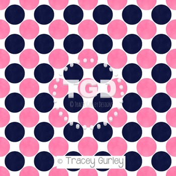 Preppy Pink and Navy Watercolor Polka Dot Pattern on White digital paper