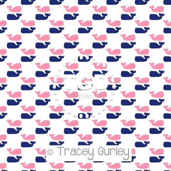 Preppy Pink and Navy Whale Pattern Repeat on White digital