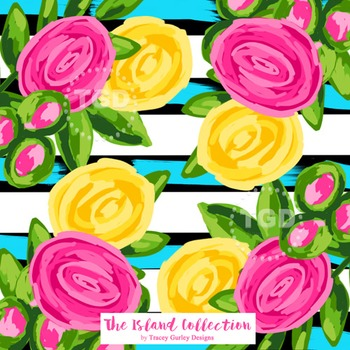 Preppy Pink and Yellow Flowers on Stripes digital paper Tracey Gurley