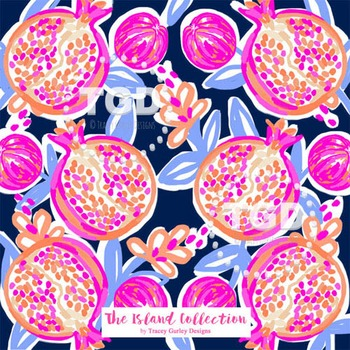 Preppy Pomegranate Design on Navy digital paper Printable Tracey Gurley Designs