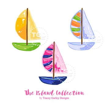 Preppy Sailboat clip art, Preppy boat clip art - Tracey Gurley Designs