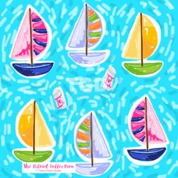 Preppy Sailboats digital paper - Original Art Printable