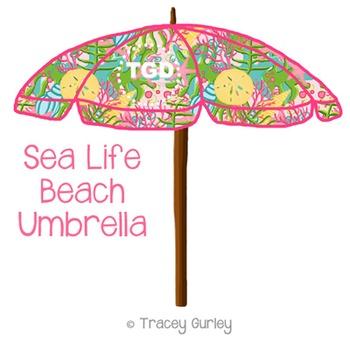 Preppy Sea Life Beach Umbrella Printable Tracey Gurley Designs