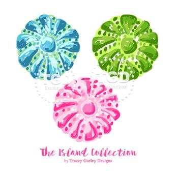 Preppy Sea Urchin clip art, pink green turquoise sea urchin clip art