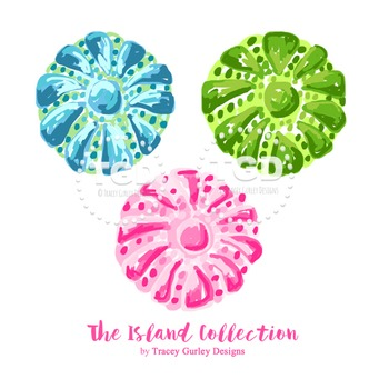 Preppy Sea Urchin clip art, pink green turquoise sea urchi