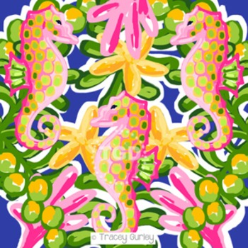 Preppy Seahorse Jungle digital paper - Original Art Printable