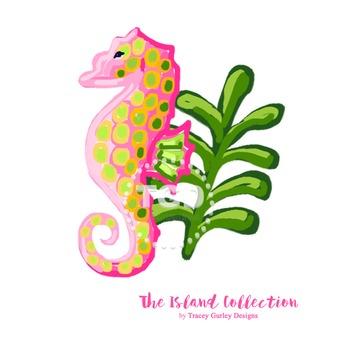 Preppy Seahorse clip art - Tracey Gurley Designs