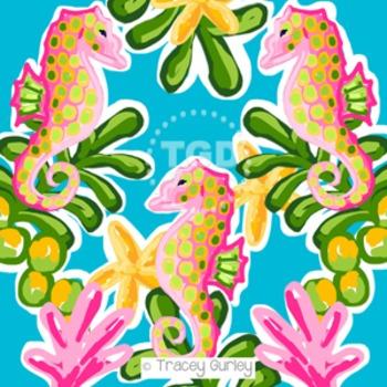 Preppy Seahorse digital paper - Original Art Printable