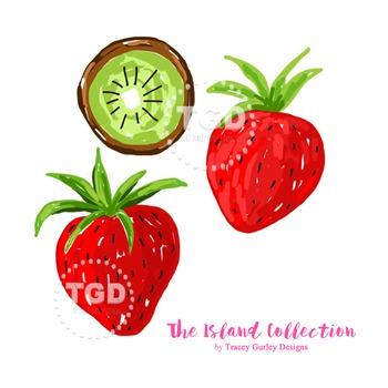 Preppy Strawberry Kiwi clip art - Tracey Gurley Designs