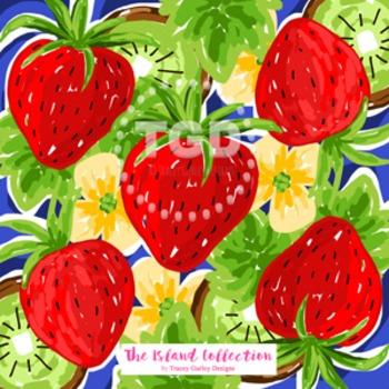 Preppy Strawberry Kiwi red, green, and navy digital paper Original Art Printable
