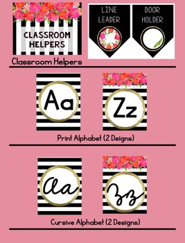 Preppy Stripes and Floral Classroom Decor Set