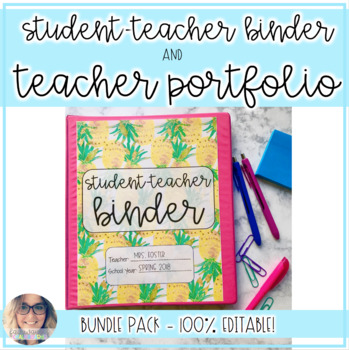 Preppy Student Teacher Binder & Teacher Portfolio BUNDLE