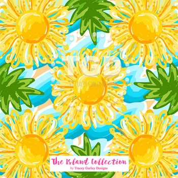 Preppy Sun and Sea digital paper yellow and turquoise - Printable Tracey Gurley