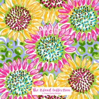 Preppy Sunflower digital paper - Original Art Printable