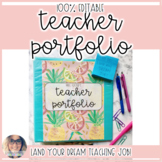 Preppy Teacher Portfolio - EDITABLE
