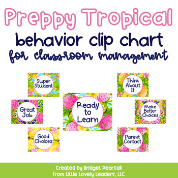 Preppy Tropical Lilly Behavior Clip Chart for Classroom Management