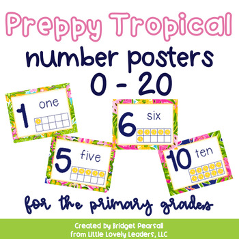 Preppy Tropical Lilly Number Posters for the Primary Grades