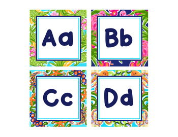 Preppy Tropical Lilly Word Wall Letters and Editable Word Wall Word Cards