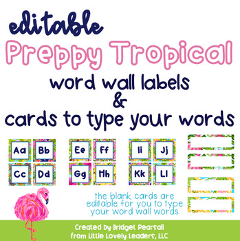 preppy tropical lilly word wall letters and editable word wall word
