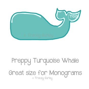 Preppy Turquoise Whale, turquoise whale clip art Printable Tracey Gurley Designs