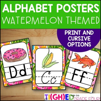 Preppy Watermelon Themed Alphabet Posters {Print and Cursive}