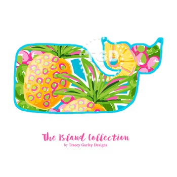 Preppy Whale with Pineapple Design clip art - Tracey Gurle