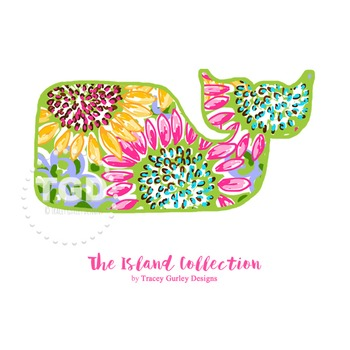 Preppy Whale with Sunflowers Design clip art - Tracey Gurley Designs