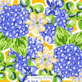 Preppy blue floral hydrangea digital paper - Original Art download