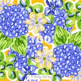 Preppy blue floral hydrangea digital paper - Original Art
