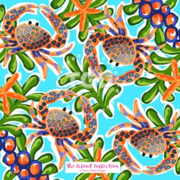 Preppy crab digital paper - Original Art download, preppy digital design
