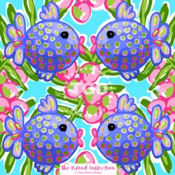 Preppy fish digital paper - Original Art Printable