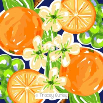 Preppy orange, navy and lime green digital paper - Original Art printable