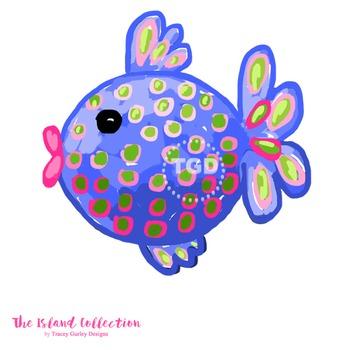 Preppy polka dot fish clip art - Tracey Gurley Designs