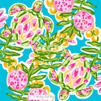 Preppy sea turtle digital paper - Original Art Printable