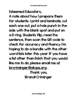Preprimer Dolch QR Code Sentences (fluency & accuracy)