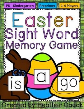 Preprimer Easter Sight Word Memory Game