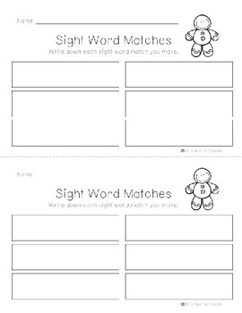 Preprimer Gingerbread Sight Word Memory Game