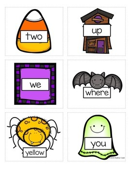 Preprimer Halloween Sight Word Memory Game