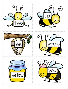 Preprimer Honey Bee Sight Word Memory Game