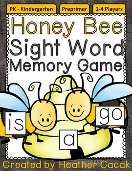 Preprimer Honey Bee Sight Word Memory Game