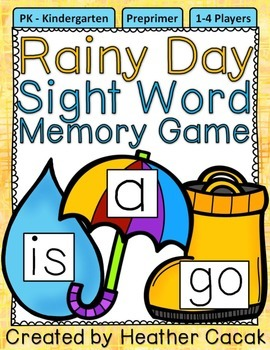 Preprimer Rainy Day Sight Word Memory Game